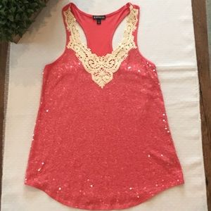 Express Coral Sequence Tank with Crochet neckline